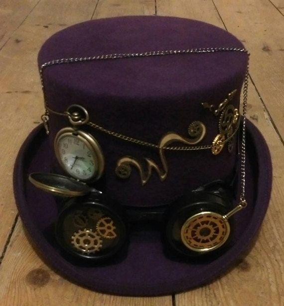 44995a429de82 Steampunk - Steampunk Willy Wonka 100% Wool Purple Top Hat Time Pocket  Watch Clocks Wheels Goggles Golden Ticket Monocle Festivals Cosplay Burning  Man by ...