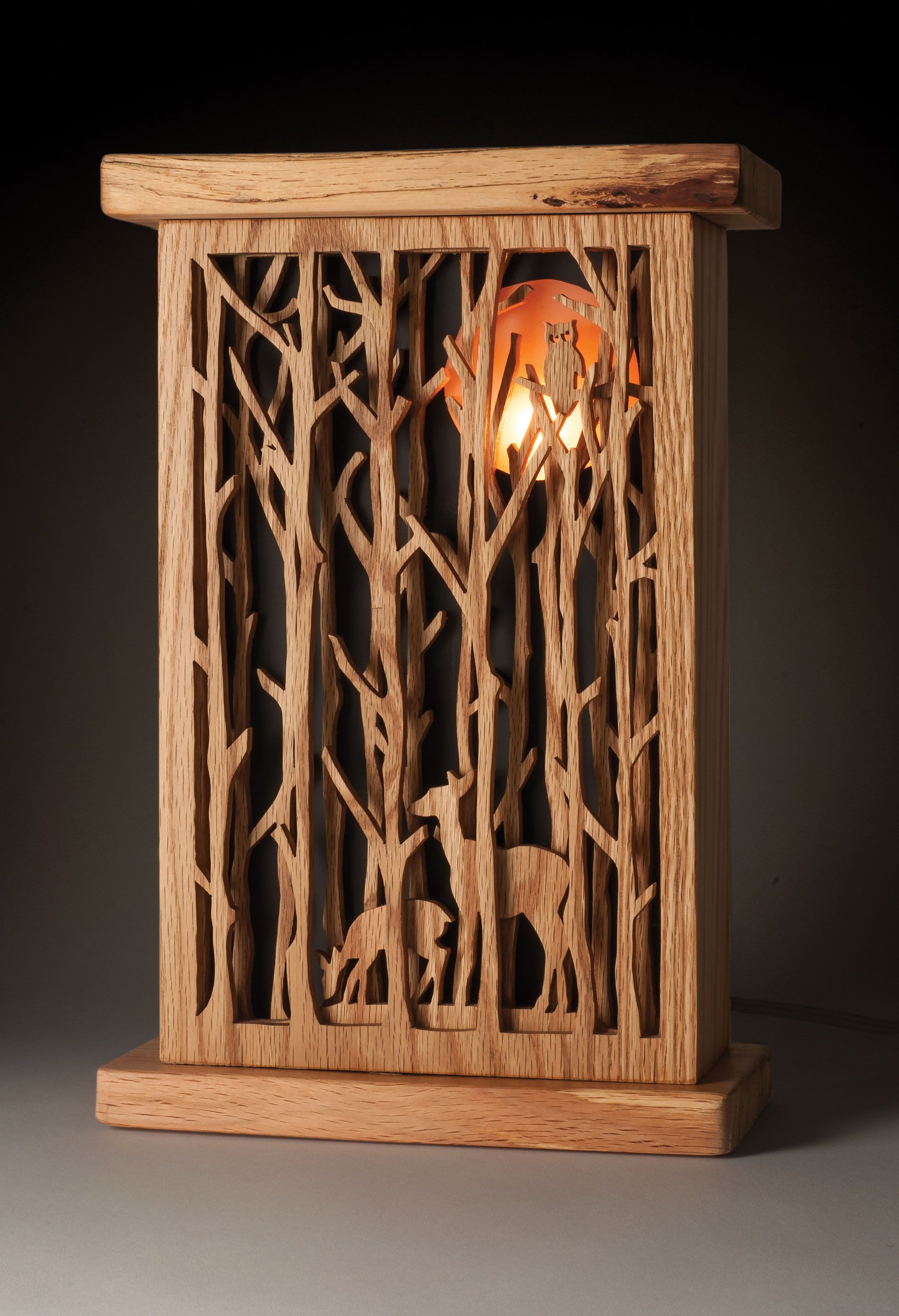 Enjoy the harvest moon all year long with this nightlight by Deb Nicholson. Learn more in Scroll Saw Woodworking & Crafts Fall 2015 (Issue 60) at http://scrollsawer.com/2015/07/15/scroll-saw-woodworking-crafts-fall-2015-issue-60-2/.