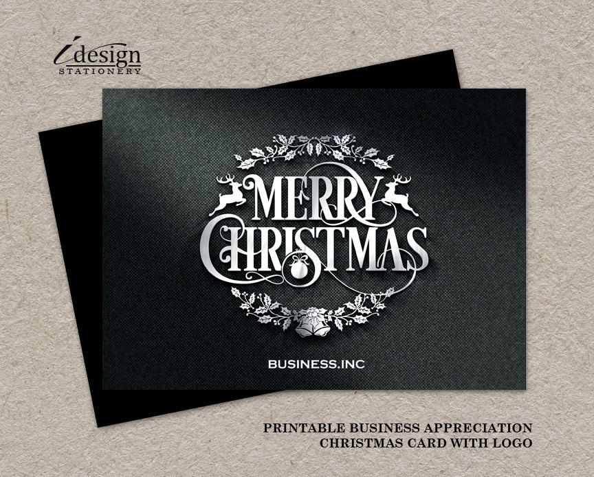 Business Christmas Cards, Printable Holiday Thank You Cards, Elegant ...