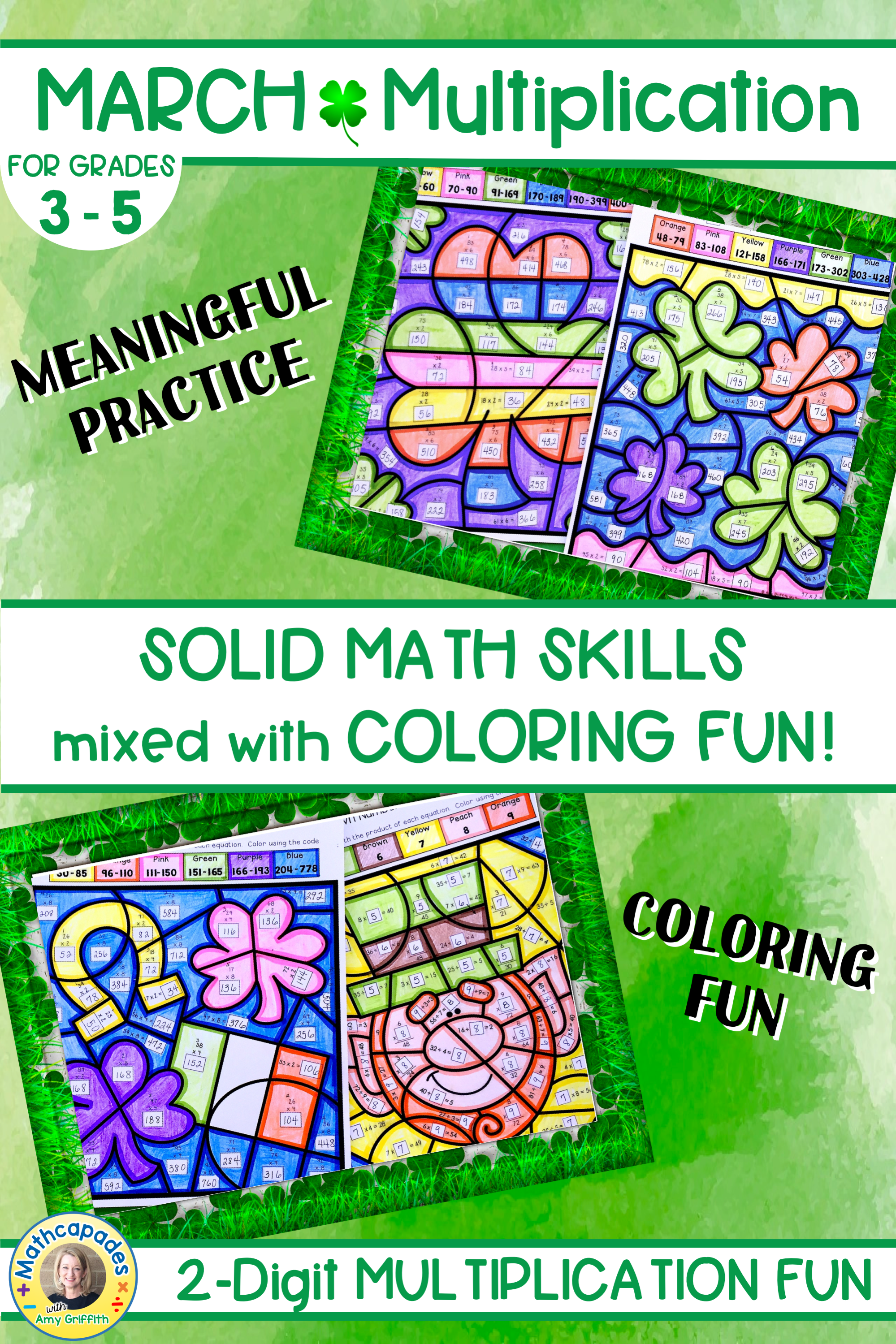 2 Digit Multiplication St. Patrick\'s Day Color by Number ...