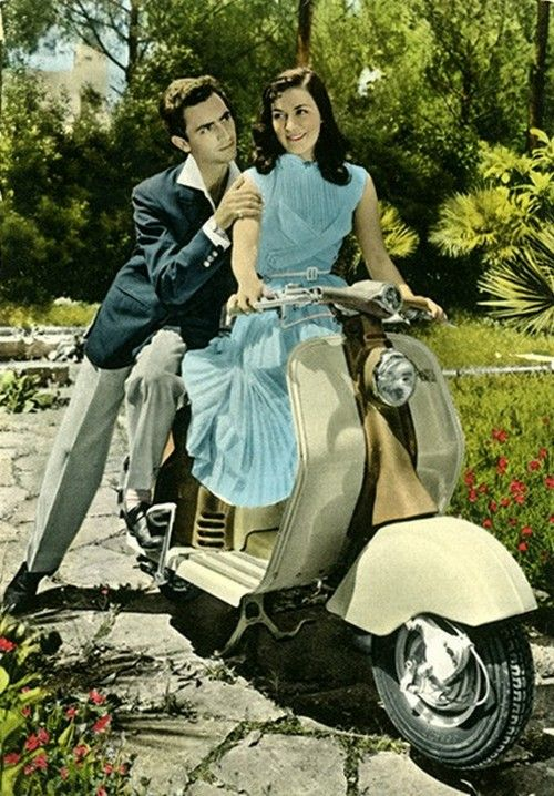 A couple on a Vespa, Italy, 1950s