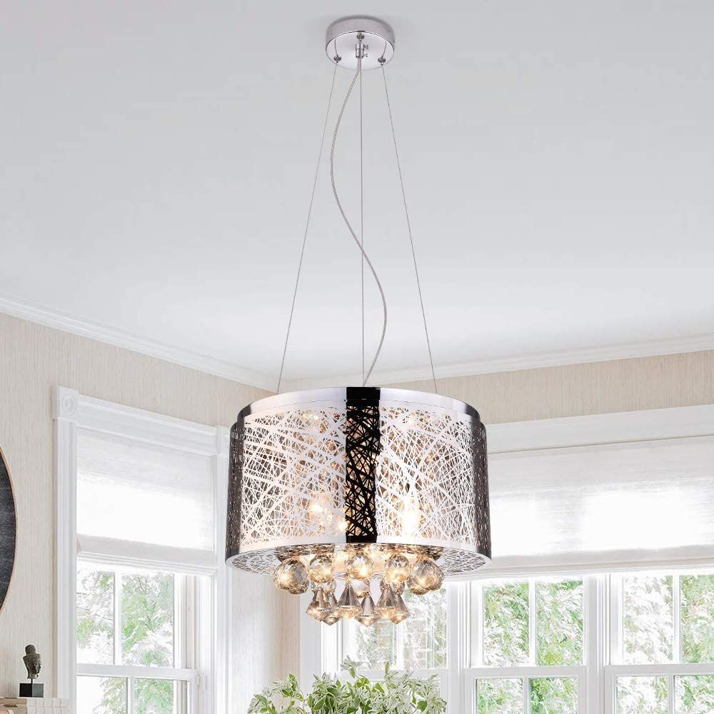 Modern Crystal Chandeliers With 3 Lights Pendant Light With Crystal Drops Ceiling Light Fixture In 2020 Modern Crystal Chandelier Ceiling Lights Ceiling Light Fixtures