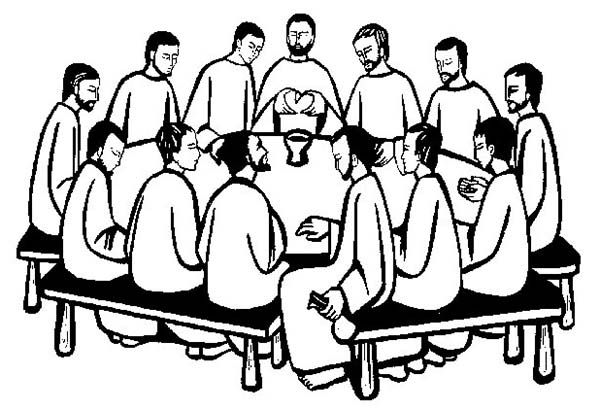 last supper the apostles gather in the last supper coloring page