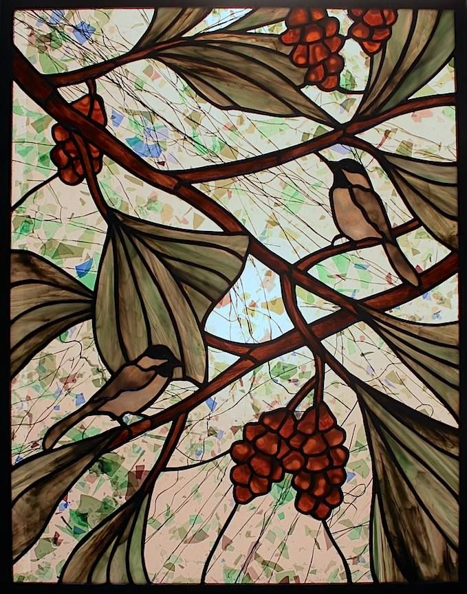 Century Studios Stained Glass Chickadee Window