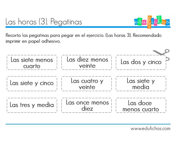 aprender-horas-ficha-pegatinas-3 | ESCUELA MATE | Pinterest | El ...