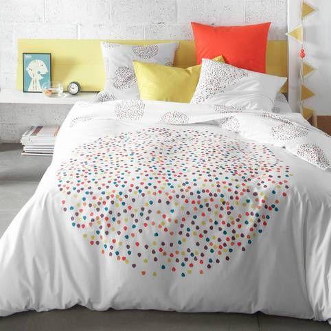 housse de couette 1 ou 2 personnes pur coton pois multicolores chromy 3 suisses deco pour ma. Black Bedroom Furniture Sets. Home Design Ideas