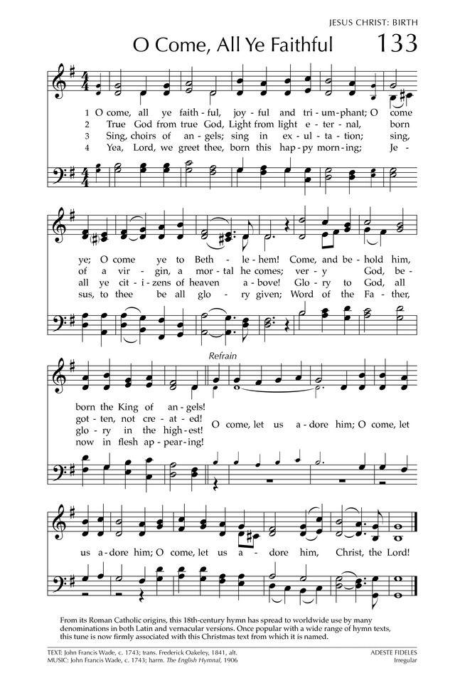 O Come, All Ye Faithful - Hymnary.org | Christmas carols songs, Christmas songs lyrics