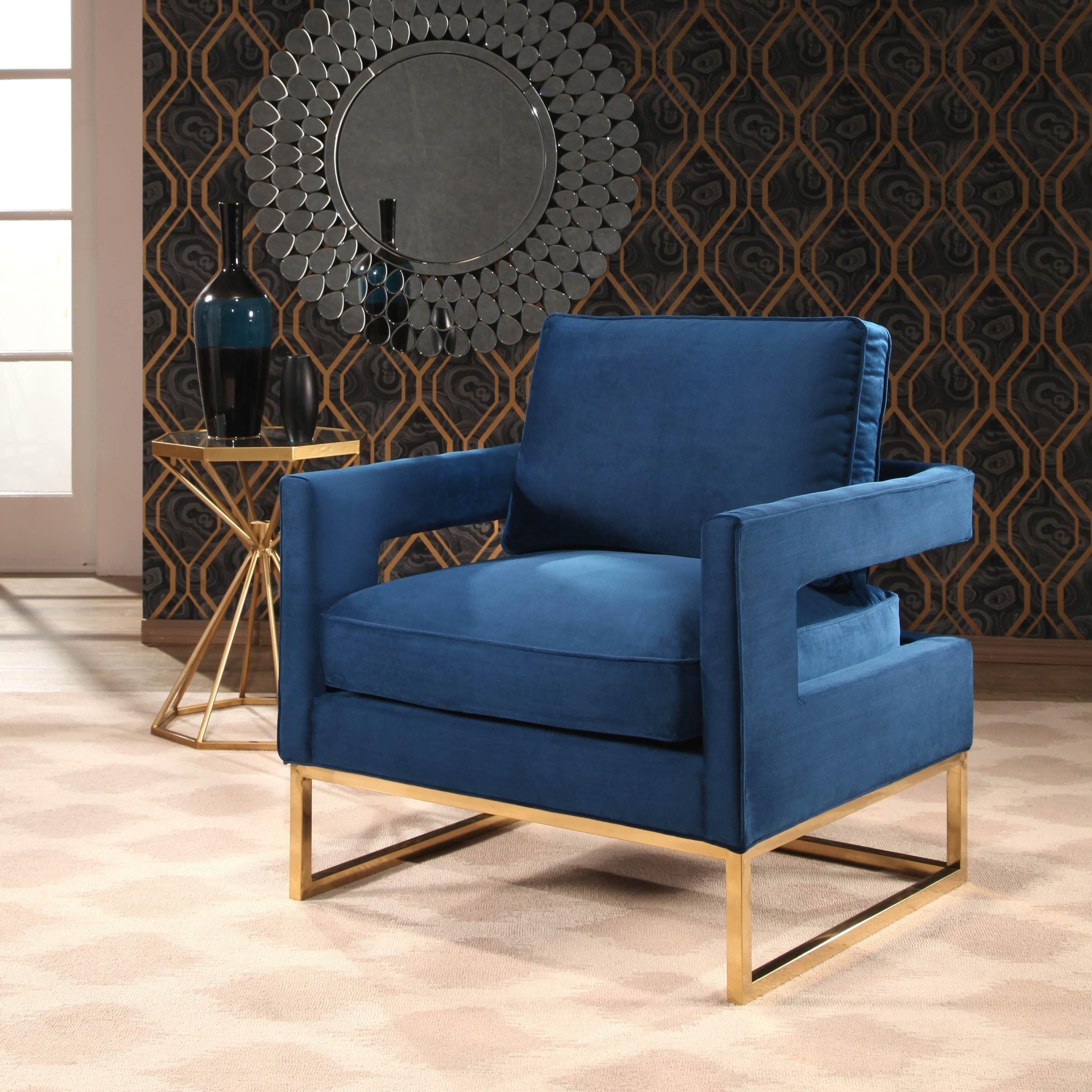 Abbyson Cromwell Velvet Accent Chair Metal Base Navy Blue