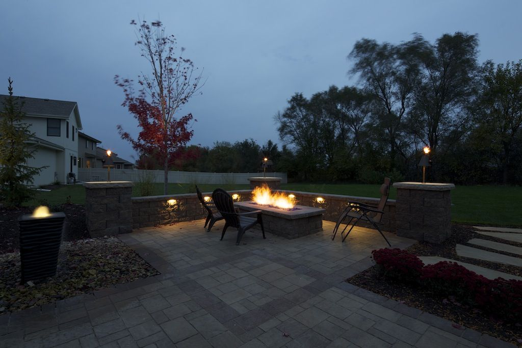 Landscaping Water Feature Lighting Hardscape Paver Patio