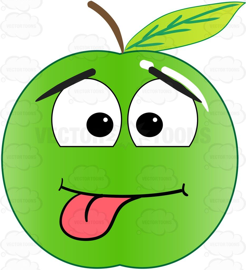 Silly Playful Green Apple With Tongue Sticking Out Emoji   Emoji