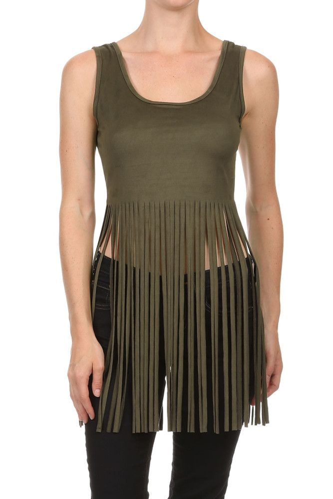 Sexy Knit Suede Sleeveless Cropped Long Fringed Low Back Tank Top
