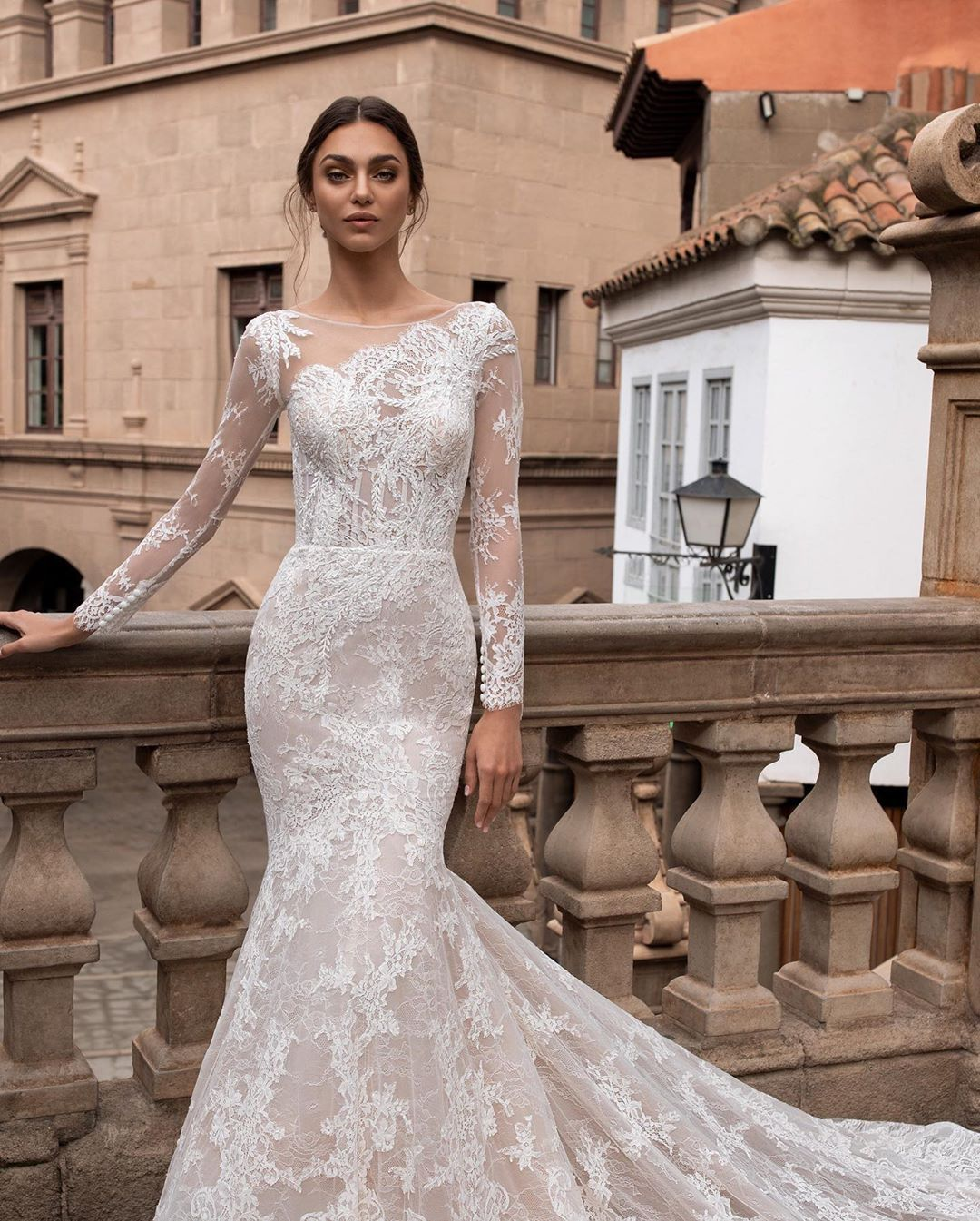 Long Sleeves And All Over Chantilly Lace Click On The Link In Bio To Discove Pronovias Wedding Dress Asymmetrical Wedding Dress Wedding Dress Silhouette Guide [ 1345 x 1080 Pixel ]