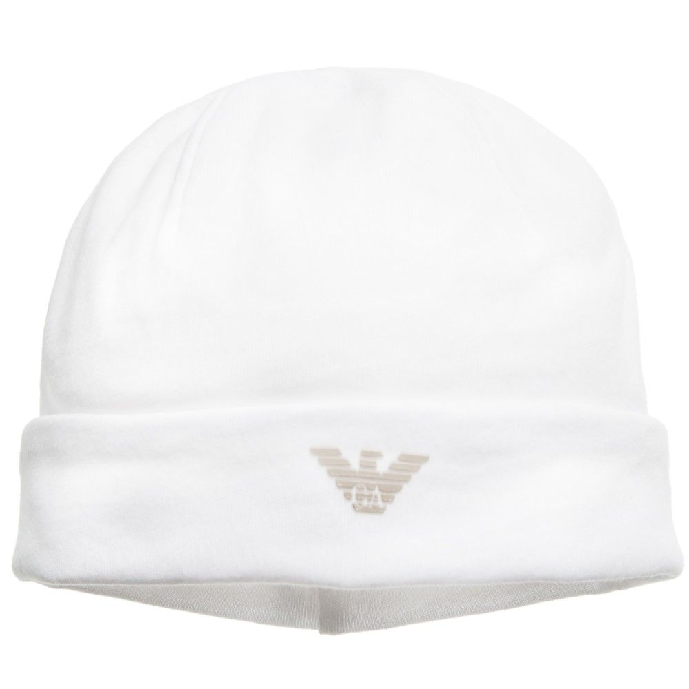 Armani White Cotton Jersey Baby Hat with Logo