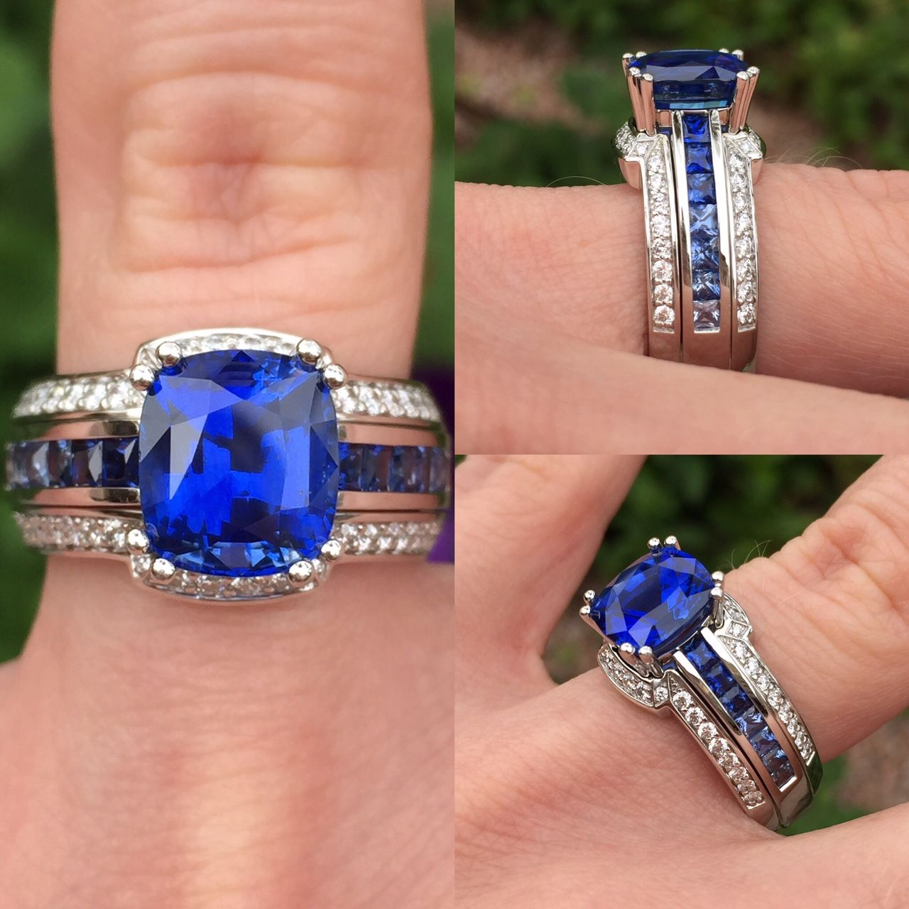 We can't say enough about this exquisite Sapphire ring!  The design and attention to detail are truly spectacular!  From the Paragon collection – Platinum - 3.81 carat cushion cut Blue Sapphire accented by princess cut Sapphires in a fade from dark to light blue and round brilliant cut Diamonds #coffinandtrout #jewelry #sapp