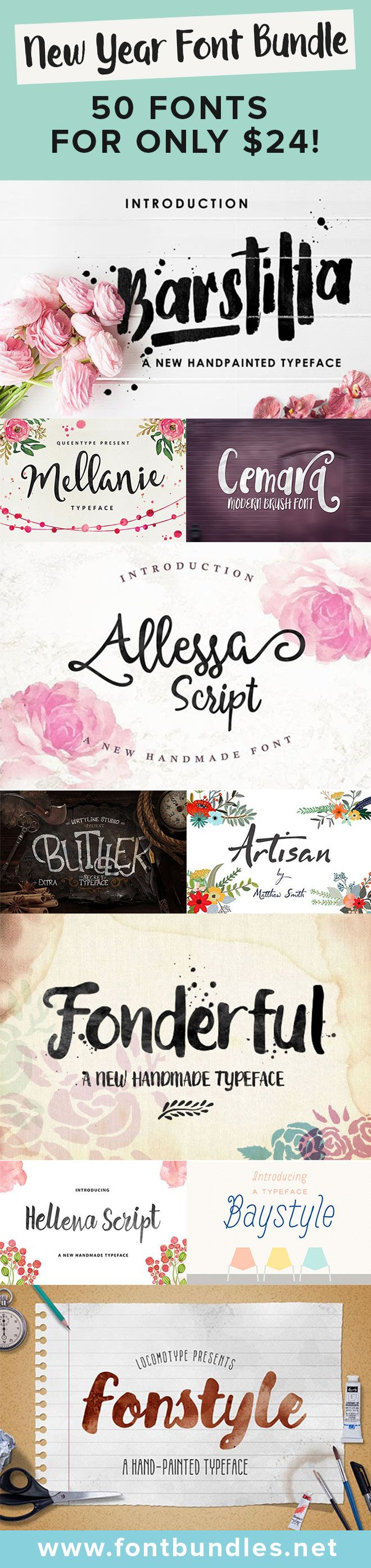 Check out at some of the beautiful fonts you will get in this New Year font bundle. 50 gorgeous fonts for only $24. What a steal! Click here to find out more.