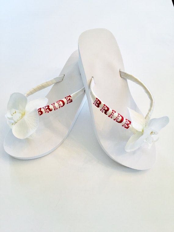 1043384b1e576d White Wedding Flip Flops Wedges.Bride Flip Flops by RocktheFlops ...