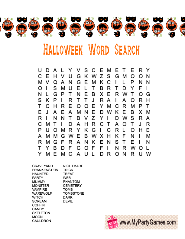 free printable halloween word search game worksheet - Halloween Word Game