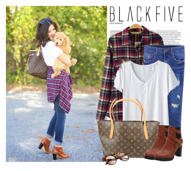 """""""plaid"""" by stacy-gustin ❤ liked on Polyvore featuring ASOS, Louis Vuitton, BloggerStyle, plaid and BlackFive"""
