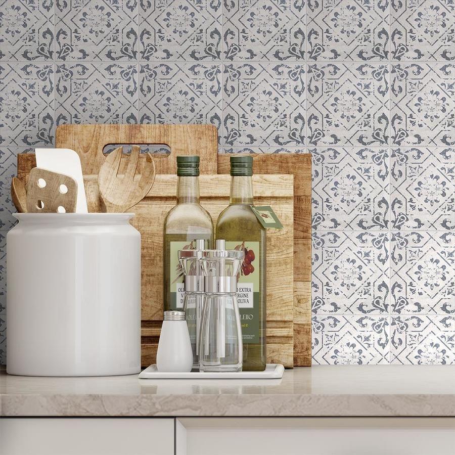 Vintage Patterned Tile Washed White 6 X 6 Herringbone Mosaic
