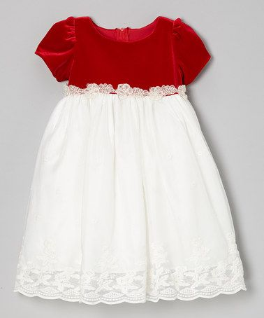Take a look at this Ivory & Red Embroidered Lace Dress - Infant, Toddler & Girls by Dimples on #zulily today!