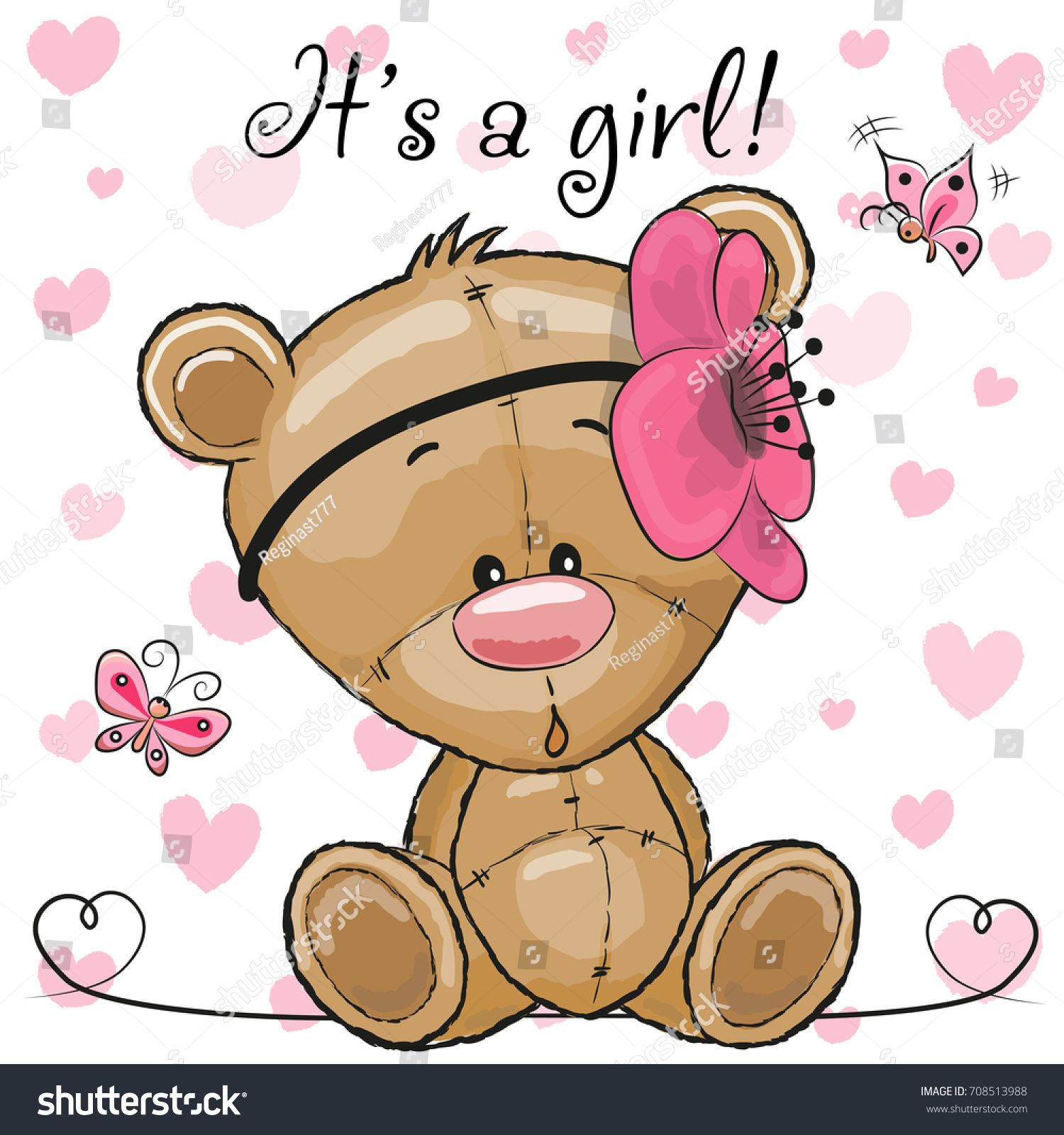 Baby shower greeting card with cute cartoon teddy bear girl baby shower greeting card with cute cartoon teddy bear girl kristyandbryce Image collections