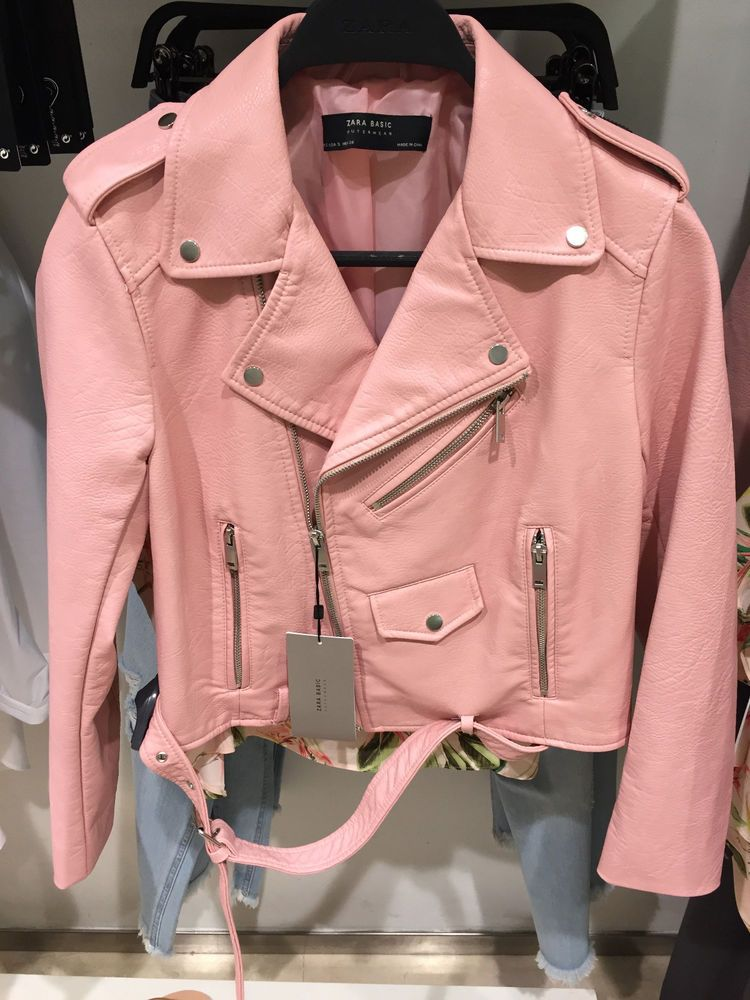 Details about ZARA WOMAN BIKER LEATHER EFFECT JACKET PINK