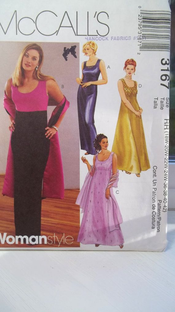 Plus Size Evening Gown Mccalls 3167 Misses Sewing Pattern Long