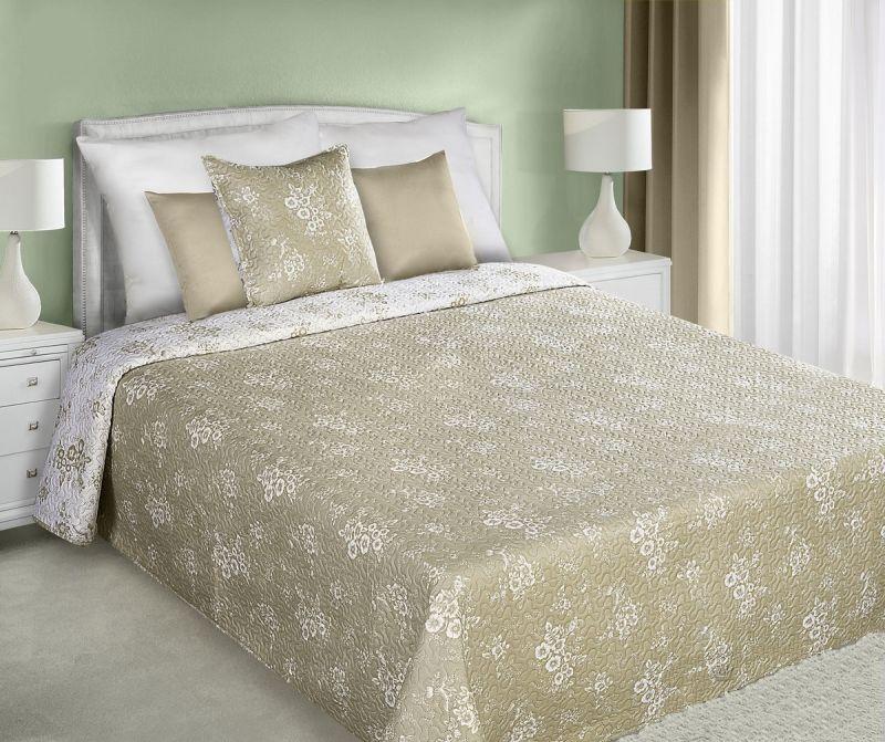 Sivo biely obojstranný prehoz na posteľ s malými kvetmi