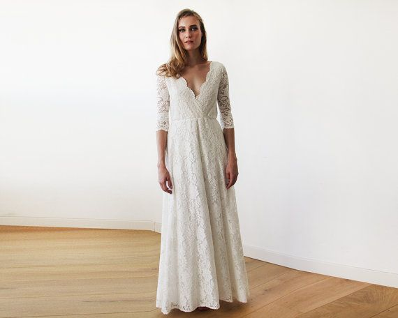 Three Quarters Sleeves Lace Wedding Dress Ivory Lace Wedding