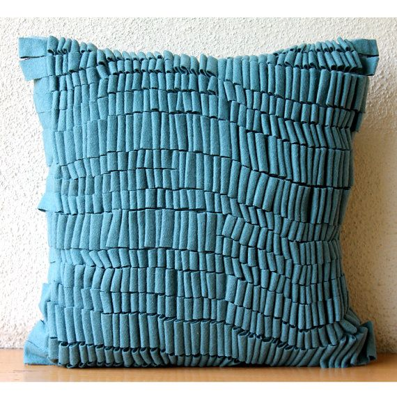 Felt Teal Blue Pillow Case 16 Quot X16 Quot Decorative Pillow