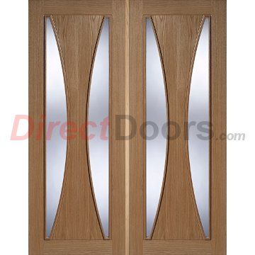 Turin 2 Light Oak Door Pair With Clear Safety Glass Is Fully