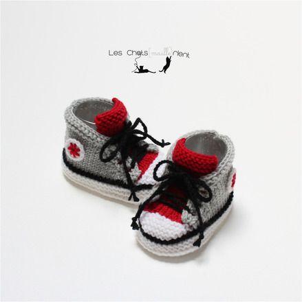 Chaussons Baskets Baby Crochet Rose Bébé Baskets Handmade Chaussures Lacets