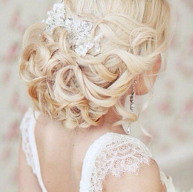 Blonde Hair Wedding Hair Style: Blonde. Wedding Hair. Low Updo. Curls. Pearl Headpiece