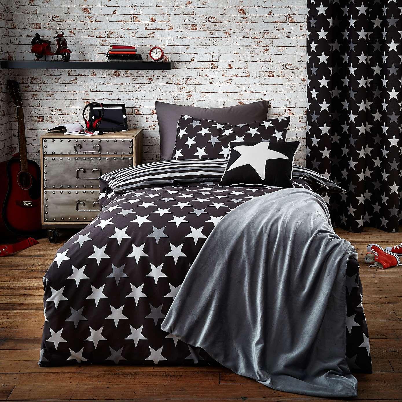 Master bedroom for single woman  Stars Black Duvet Cover Set  Bed linen Linens and Black duvet cover