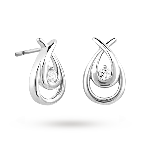 Canadian Ice Silver Diamond Crossover Earrings