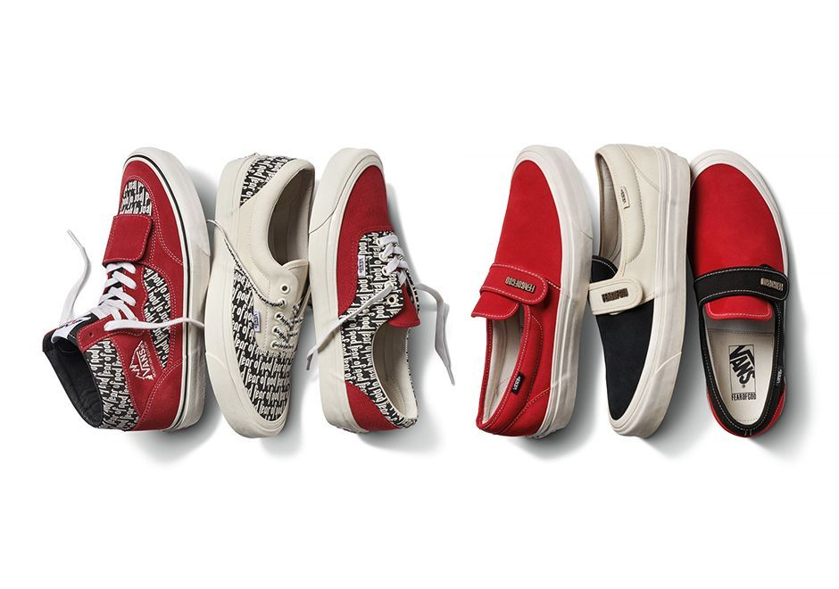 The upcoming collaboration between Vans x Fear of God features the Slip-On 47  V DX as part of the Classics line in three color variations including bold  red ... 9b000f6e9