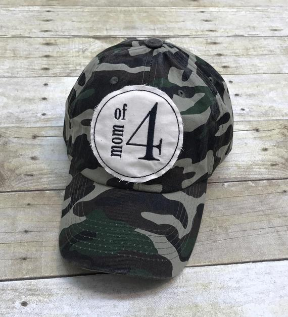 392173d7 Mom of Four Embroidered Raggy Patch Solid Camo Baseball Cap / Hat ...