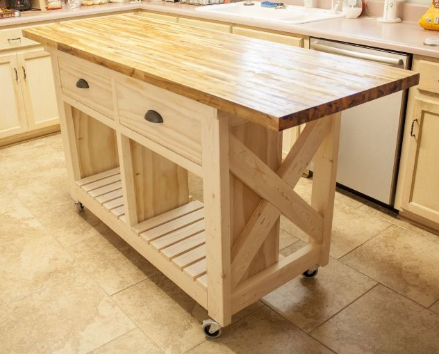 Small mobile kitchen island butcher block kitchen island - Small butcher block island ...