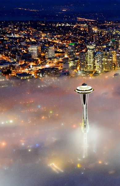 Seattle, Washington...There is a rotating restaurant on the top level of the Space Needle. ❤