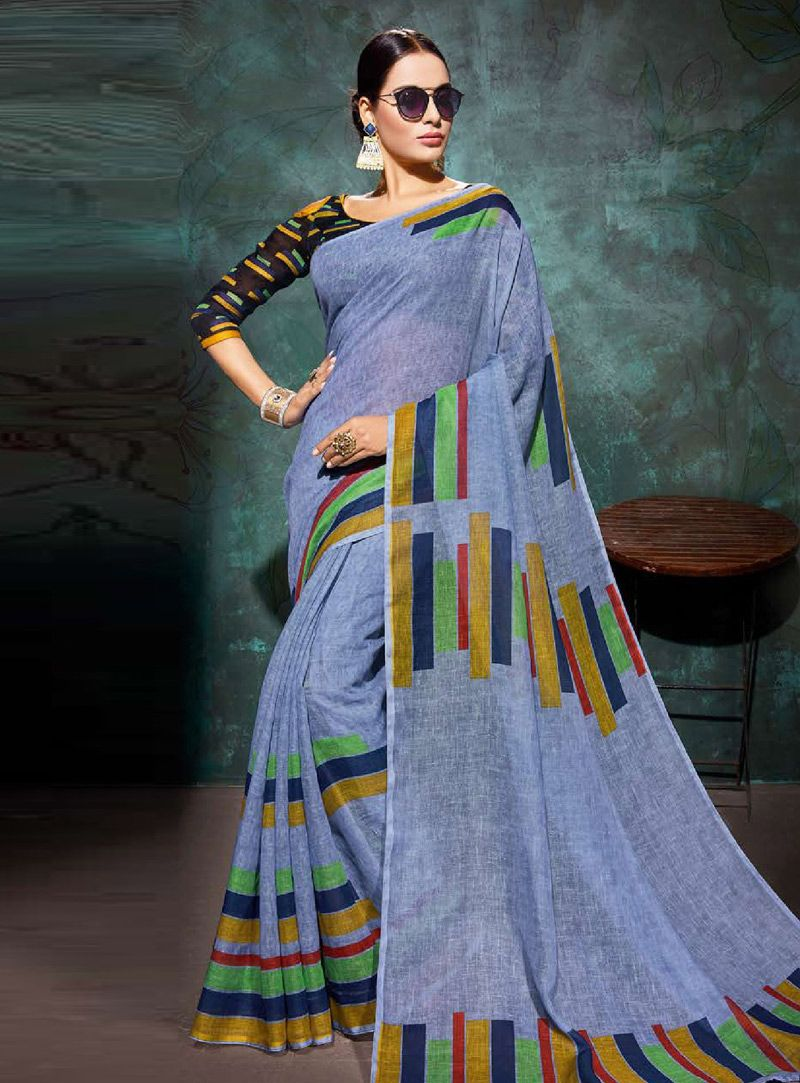 fd7d36873a6db7 Buy Light Blue Khadi Festival Wear Saree 146708 with blouse online at  lowest price from vast collection of sarees at Indianclothstore.com.