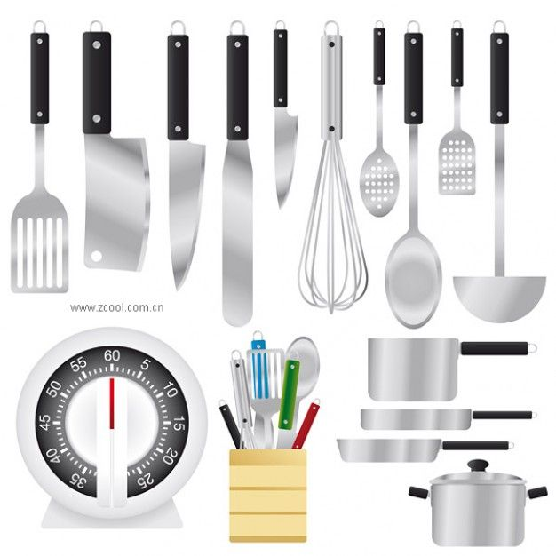 Utensilios de cocina conjunto material de vectores - Utensilios de chef ...