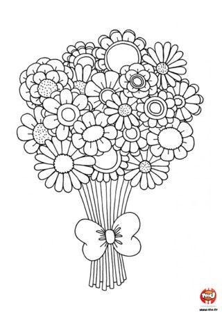 Tout simple j 39 imprime je coloris je d coupe et voila un superbe bouquet de fleurs - Coloriage bouquet de fleurs ...