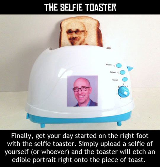 The Selfie Toaster...yes, we need this! A Splashtablet RP - the Suction-Mount iPad Case for kitchen, shower, bath & beach. Winter Sale Prices http://www.amazon.com/dp/B00TG1FFLS