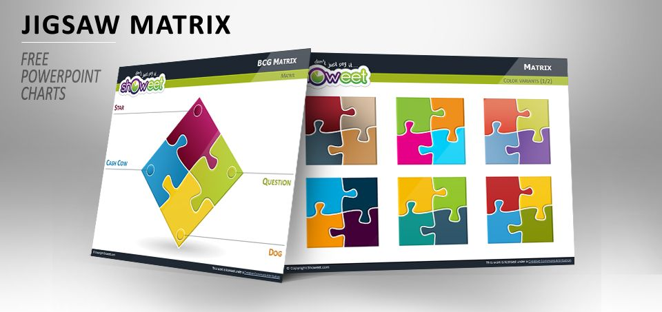 Matrix with Jigsaw Puzzle Pieces for PowerPoint Charts - professional powerpoint