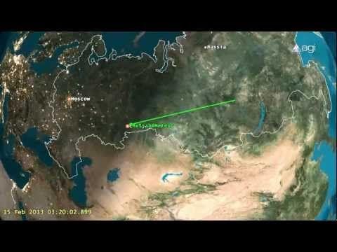 Meteorito de 10.000 toneladas explode na Rússia. Animação  da sua trajectória (15-02-2013)