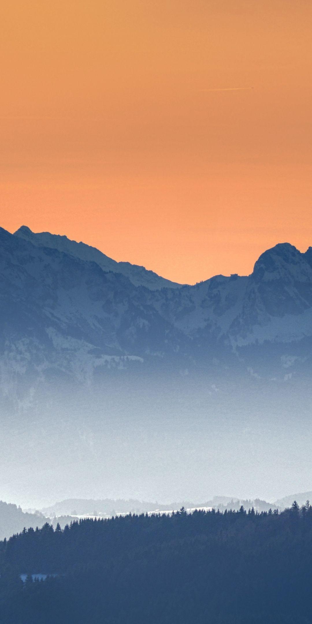 Sunset Mountains Haze Horizon Dusk 1080x2160 Wallpaper