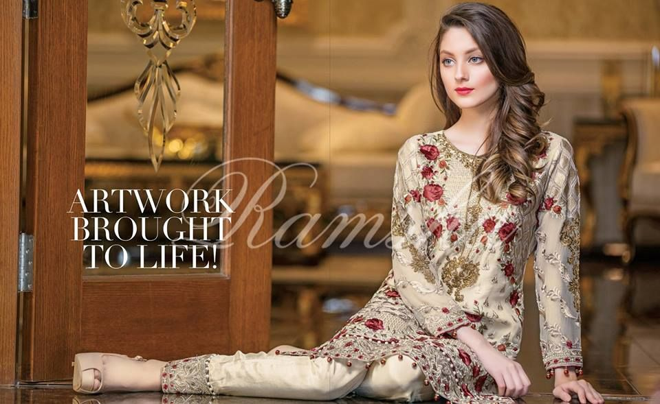 40c55b648f Buy Online Ramsha Stardust Embroidered Chiffon Collection 2017-18 | PK Vogue