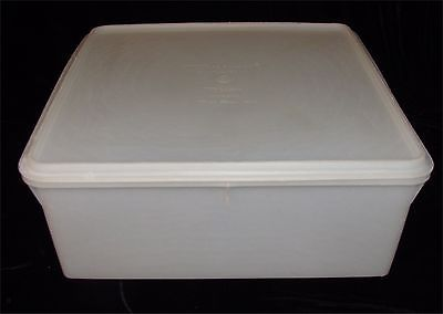 Vtg Tupperware Large Square Keeper Container White 12 X12 X 5 Storage Canister Storage Canisters Tupperware Storage