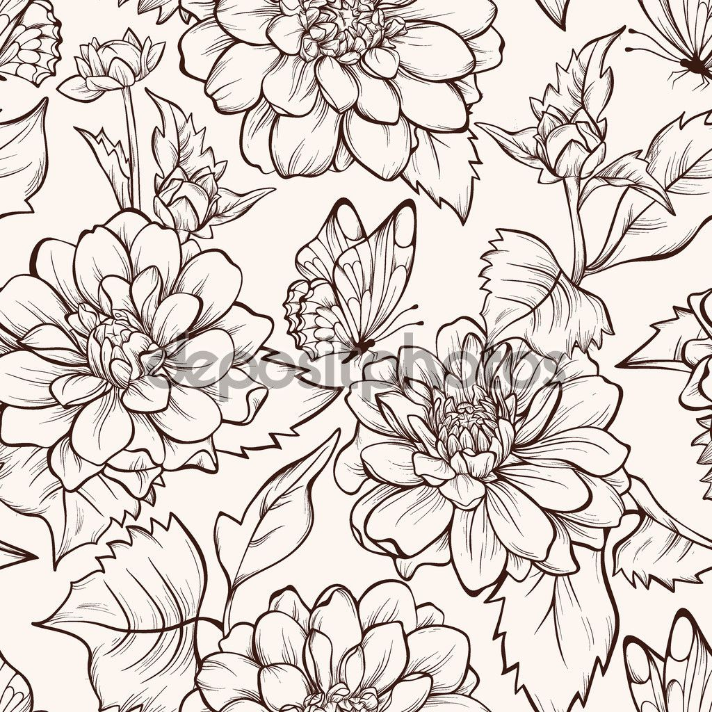 Depositphotos63940643 Seamless Pattern With Blooming Dahlia Flowers