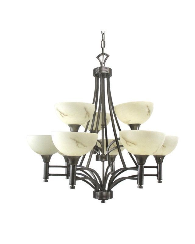 Triarch Lighting 29744 Bs Nine Light Hanging Chandelier In Brushed Steel Finish
